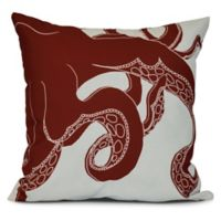 Gus Coastal Square Throw Pillow in Red