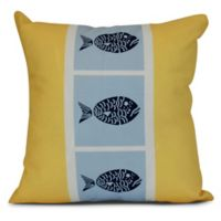 Fish Chips Coastal Square Throw Pillow in Yellow