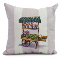 Veggie Cart Square Throw Pillow in Purple