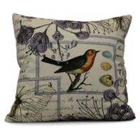 Sweet Tweets Square Throw Pillow in Lavender