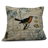 Sweet Tweets Square Throw Pillow in Aqua
