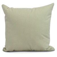 Ticking Stripe Square Throw Pillow in Green