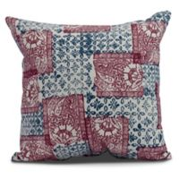 Patches Geometric Square Throw Pillow in Maroon