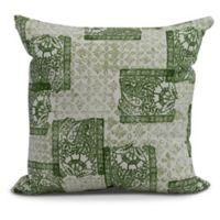 Patches Geometric Square Throw Pillow in Green