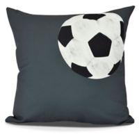 E by Design Soccer Ball Geometric Throw Pillow in Black
