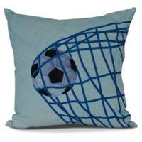 E by Design Goal Soccer Ball Throw Pillow in Light Blue