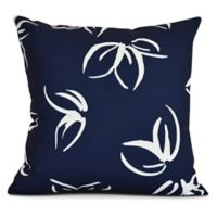 E by Design! Eva Floral Frolic Square Throw Pillow in Navy