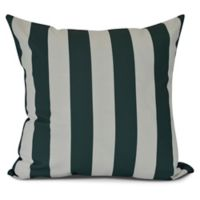 E by Design! Rugby Stripe Square Throw Pillow in Green