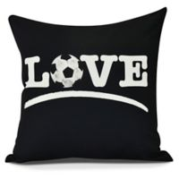 E by Design! Love Soccer Square Throw Pillow in Black