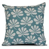 E by Design! Ingrid Floral Frolic Square Throw Pillow in Aqua