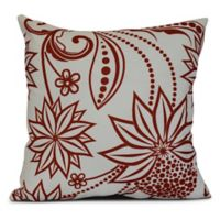 Ella Floral Square Throw Pillow in Red