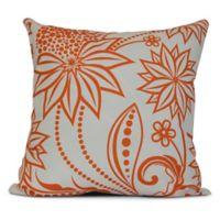 Ella Floral Square Throw Pillow in Orange