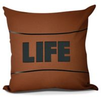 """Life"" Square Throw Pillow in Orange"