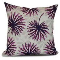 Spike And Stamp Floral Square Throw Pillow in Purple