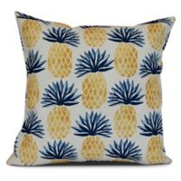 Pineapple Stripes Sqaure Throw Pillow in Blue