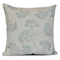 April Floral Square Throw Pillow in Aqua