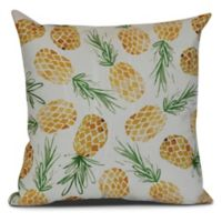 Tossed Pineapples Tropical Sqaure Throw Pillow in Gold