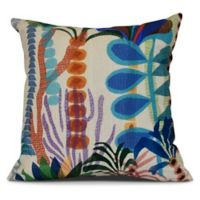 Tropical Jungle Floral Square Throw Pillow in Gold