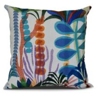 Tropical Jungle Floral Square Throw Pillow in Light Blue