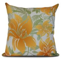 Tree Mallow Floral Square Throw Pillow in Gold