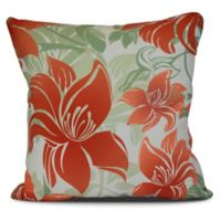 Tree Mallow Floral Square Throw Pillow in Orange