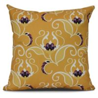 West Indies Floral Square Throw Pillow in Gold