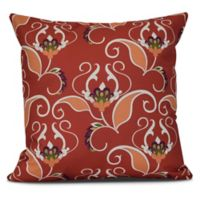 West Indies Floral Square Throw Pillow in Orange