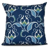 West Indies Floral Square Throw Pillow in Blue