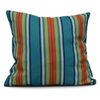 Multi-Stripe Square Throw Pillow in Turquoise