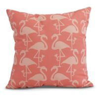 Flamingo Heart Martini Coastal Square Throw Pillow in Coral