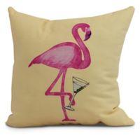 Single Flamingo Coastal Square Throw Pillow in Yellow