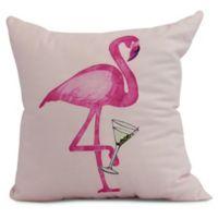 Single Flamingo Coastal Square Throw Pillow in Pink