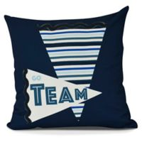 Go Team! Square Throw Pillow in Navy Blue