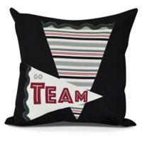Go Team! Square Throw Pillow in Black