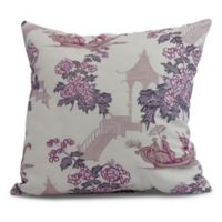 China Old Floral Square Throw Pillow in Purple