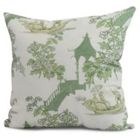 China Old Floral Square Throw Pillow in Green