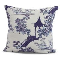 China Old Floral Square Throw Pillow in Navy Blue