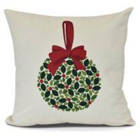 Mistletoe Square Throw Pillow in Cream