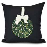 Mistletoe Square Throw Pillow in Black