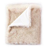 De Moocci® Faux Fur Tip Dye Throw Blanket in Beige