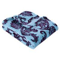Berkshire Blanket® VelvetLoft® Feathered Damask Throw Blanket in Purple