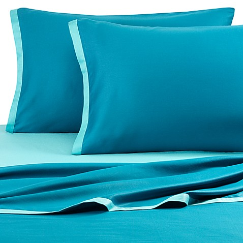 KAS® Two Tone Queen Sheet Set in Light Teal/Dark Teal