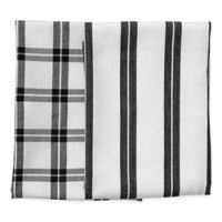 Rue Montmartre Checkered/Striped Kitchen Towels in Black (Set of 2)