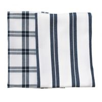 Rue Montmartre Checkered/Striped Kitchen Towels in Blue (Set of 2)
