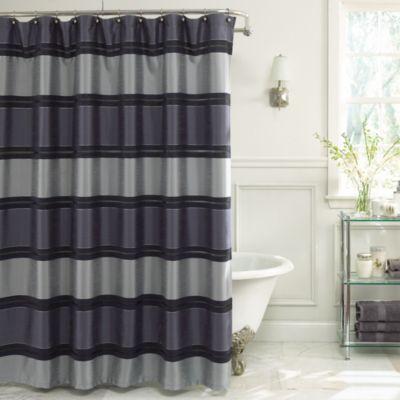 Jardin stripe 72 inch x 72 inch fabric shower curtain in navy