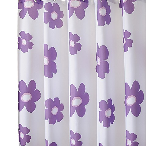 Interdesign Purple Poppy 72 Inch X 96 Inch Fabric Shower Curtain Bed Bath Beyond
