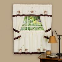 Achim Cuppa Joe 36-Inch Rod Pocket Cottage Window Tier and Swag Set in Brown