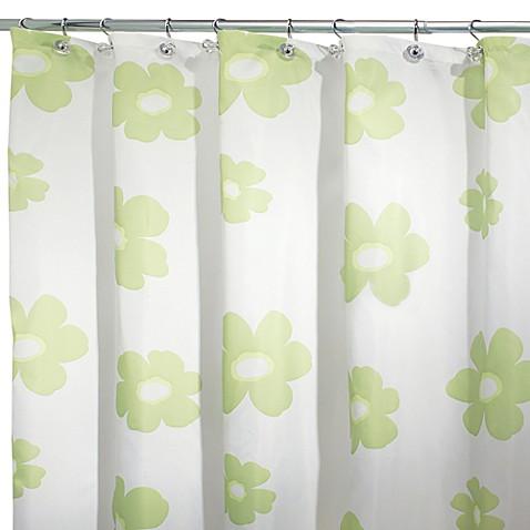 Interdesign Green Poppy 108 Inch X 72 Inch Fabric Shower Curtain Bed Bath Beyond