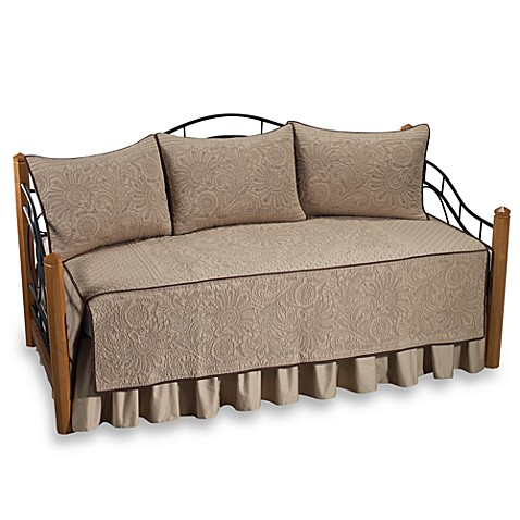 Vallejo 100  Cotton Quilted Daybed Bedding Set in Taupe. Vallejo 100  Cotton Quilted Daybed Bedding Set in Taupe   Bed Bath