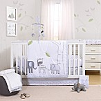 Little Haven Elephant Park 3-Piece Crib Bedding Set in White/Grey